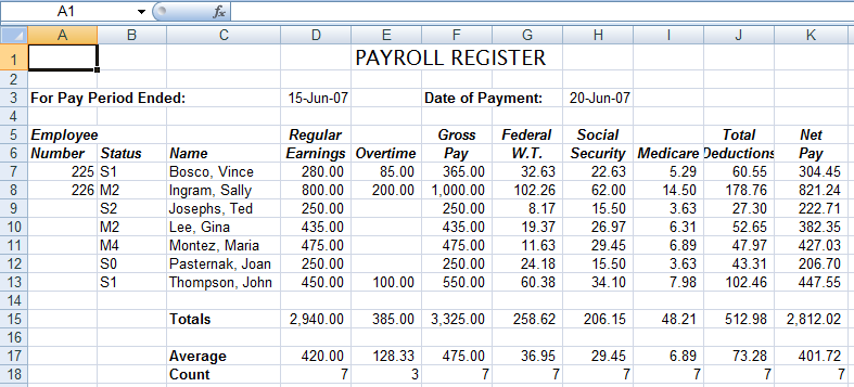 excel payroll register