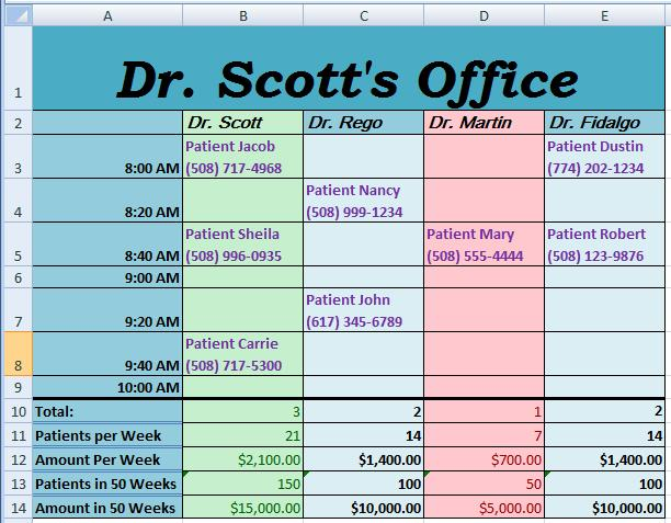 Week 10 homework microsoft excel doctor appointments doctor schedule sample publicscrutiny Choice Image
