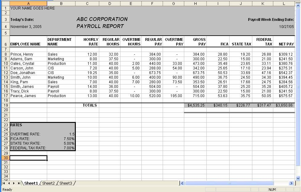 payroll sheet template sample
